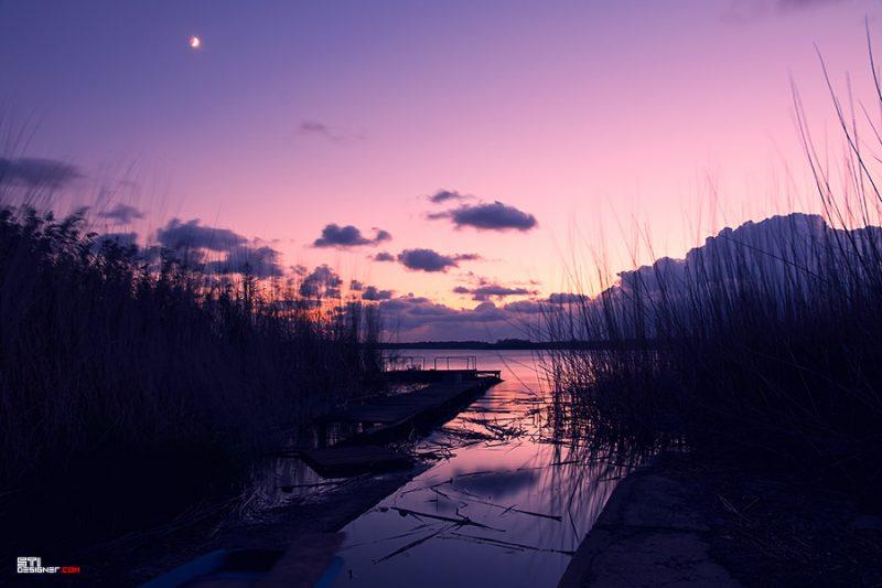 Пурпурен залез над езеро Дуранкулак пред ресторант Златна Рибка, фотография на Светослав Иванов